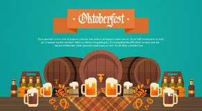 Oktoberfest Beer Festival Banner Wooden Barrel With Glass Mugs Holiday Decoration  Stock Photos
