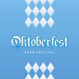 Oktoberfest Beer Festival Bavarian blue background. Vector Royalty Free Stock Photos