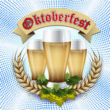 Oktoberfest  Beer festival celebration.  Abstract blue geometric background. Oktoberfest. Beer festival celebration. Mug with beer on a background of wood with Royalty Free Stock Images