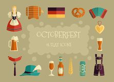 Oktoberfest beer festival flat icons design. Octoberfest icon set. German food and beer symbols. Vector illustration Royalty Free Stock Photography