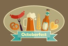 Oktoberfest beer festival flat icons design. Octoberfest icon set. German food and beer symbols. Vector illustration Stock Images