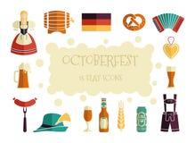 Oktoberfest beer festival flat icons design. Octoberfest icon set. German food and beer symbols. Vector illustration Stock Photos