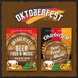 Oktoberfest beer festival flyer and poster template. Oktoberfest background for advertising, billboard, invitation design Stock Illustration