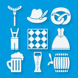 Oktoberfest beer festival icons set in white and Stock Images