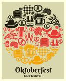 Oktoberfest Beer Festival label. In the German national colors in a round design with German beer in bottles  can  tankard  glass  keg or cask  barrel  hops Stock Photography