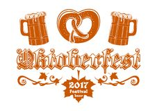 Oktoberfest Beer Festival 2017. Oktoberfest 2017. Beer Festival logo concept design. Vector illustration isolated on white background Royalty Free Stock Photos