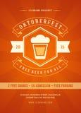 Oktoberfest beer festival poster or flyer template. Oktoberfest beer festival celebration retro typography poster or flyer template vector illustration