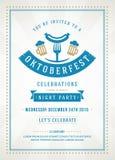 Oktoberfest beer festival poster or flyer template. Oktoberfest beer festival celebration retro typography poster or flyer template royalty free illustration