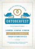 Oktoberfest beer festival poster or flyer template. Oktoberfest beer festival celebration retro typography poster or flyer template stock illustration