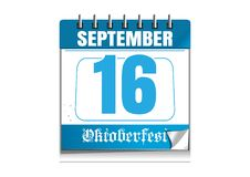 Oktoberfest 2017 calendar with a festive date. Oktoberfest 2017. Beer Festival. 16 of September. Festive date in the wall calendar. Vector illustration Royalty Free Stock Images