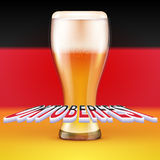 OKTOBERFEST BEER FESTIVAL Vector. Background A glass of beer royalty free illustration