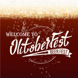 Oktoberfest Beer Festival Vector. Freshening Beer. Lettering Typography. Beer Textured Background. Royalty Free Stock Photo
