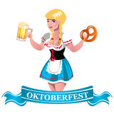 Oktoberfest beer with girl. Oktoberfest girl with beer and banner. Vector illustration Stock Photography