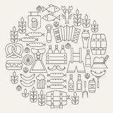Oktoberfest Beer Holiday Line Icons Set Circular Shaped Royalty Free Stock Image