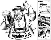 Oktoberfest Beer Holiday Man Germany Glass Foam Thumb Ink Monochrome royalty free illustration