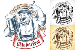 Oktoberfest Beer Holiday Man Germany Glass Thumb Ink Barrel Set Royalty Free Stock Images