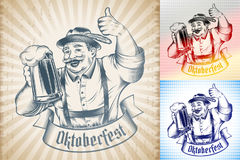 Oktoberfest Beer Holiday Man Germany Glass Thumb Ink Monochrome. Man holding beer glass with lager on Oktoberfest. Traditional German Bavarian clothes, hat Stock Images