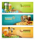 Oktoberfest Beer 3 Horizontal Banners Set vector illustration