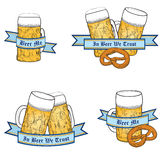 Oktoberfest Beer icon set. Beer icon set. Full Beer Glass Mug. Oktoberfest Label Collection Stock Images