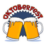 Oktoberfest beer mugs. Illustration; Beer glasses for October festival Stock Images
