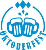 Oktoberfest beer mugs. German festival vector stock illustration
