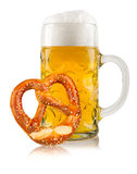 Oktoberfest beer with pretzel Stock Photo