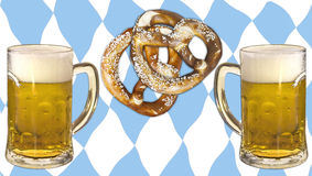 Oktoberfest, beer, pretzels and bavaria colors. Symbolic representation of Oktoberfest, famous beer festival in Munich: the Bavaria colors and pattern, pretzels Royalty Free Stock Images