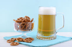 Oktoberfest beer and pretzels. Royalty Free Stock Images