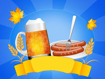 Oktoberfest beer and sausages Royalty Free Stock Image