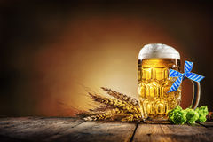 Oktoberfest beer with wheat  and hops Royalty Free Stock Photo
