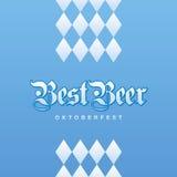 Oktoberfest Best Beer Bavarian blue background. Vector Stock Image