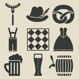 Oktoberfest-Bier-Festivalikonen eingestellt Lizenzfreie Stockfotografie