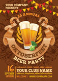 Oktoberfest-Bier-Parteischablone lizenzfreie abbildung