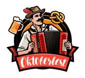 Oktoberfest, Bierfestival Glücklicher Mann, der das Akkordeon spielt Katze entweicht auf ein Dach vom Ausländer stock abbildung