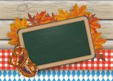 Oktoberfest Blackboard Pretzel Wood Stock Photography