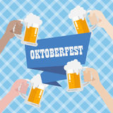 Oktoberfest with blue background pattern Stock Photos