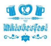 Oktoberfest 2017 blue logo concept design. Beer Festival since 1810. Greeting lettering card. Vector illustration Stock Photos