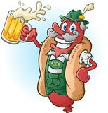 Oktoberfest Bratwurst Hotdog Cartoon Character Drinking Beer. A hotdog bratwurst cartoon character wearing traditional bavarian lederhosen and drinking a large Royalty Free Stock Images