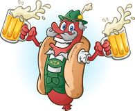 Oktoberfest Bratwurst Hotdog Cartoon Character Drinking Beer vector illustration