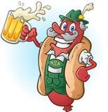 Oktoberfest-Bratwurst-Würstchen-Zeichentrickfilm-Figur-trinkendes Bier Lizenzfreie Stockbilder