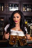 Oktoberfest. Brunette woman holding beer mugs in bar Royalty Free Stock Photos