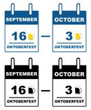 Oktoberfest calendar. Isolated on white Royalty Free Stock Photography