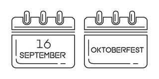 Oktoberfest calendar 2017. Line icon set. Beer Festival. Festive date in the wall calendar. 16 of September. Vector illustration Royalty Free Stock Photography