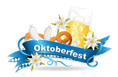 Oktoberfest card with banderole, edelweiss, beer, veal sausage and pretzel   Royalty Free Stock Photo