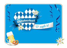 Oktoberfest Card with heart, beer, sausage, pretzel and Edelweiss,    Greetings to Oktoberfest, heart from Bavarian flag, Royalty Free Stock Image