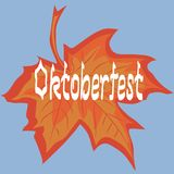 Oktoberfest card. Oktoberfest handwritten text. Leaf maple. stock illustration