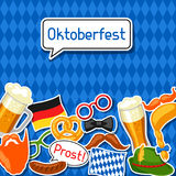 Oktoberfest card with photo booth stickers. Design for festival and party.  Royalty Free Stock Photography