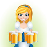 Oktoberfest cartoon girl with beer Royalty Free Stock Images