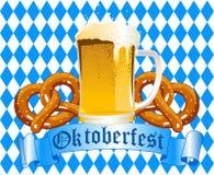 Oktoberfest Celebration Background. With Beer and Pretzel Royalty Free Stock Photos