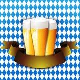 Oktoberfest Celebration Background. Beer on blue background Oktoberfest Royalty Free Stock Images